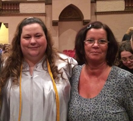 Candy and her mother at graduation